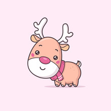Cute Christmas Reindeer Vector Illustration In Kawaii Cartoon Style