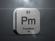 Promethium element from the periodic table. Metallic icon 3D rendered with nice lens flare