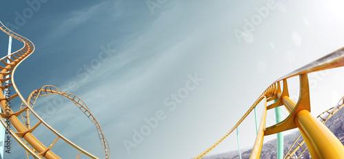 Poster Attraction parc Roller-coaster background blue sky empty 3d illustration render