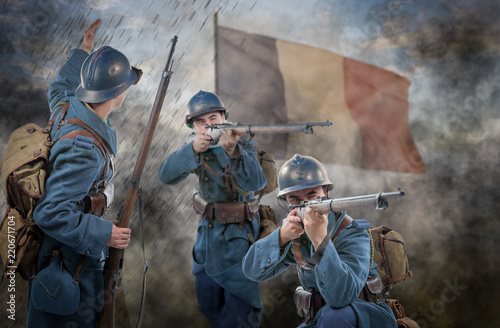 Photo French soldiers 1914 1918 attack, November 11th