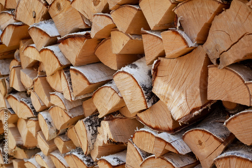 Photo sur Aluminium Texture de bois de chauffage birch firewood