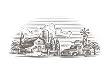 Rustic Farm Illustration. Vector.