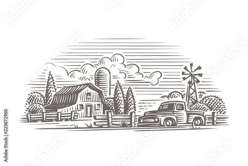Fototapeta Rustic farm illustration. Vector.