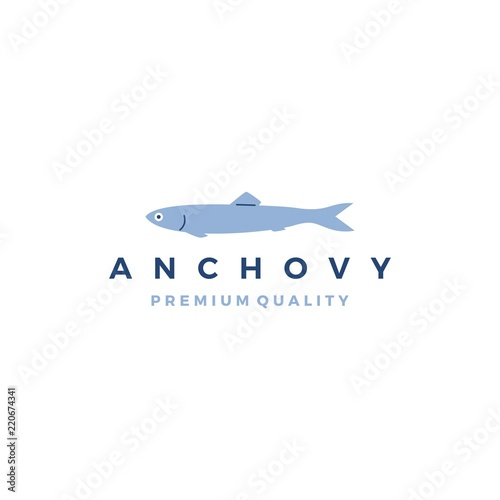 anchovy fish logo vector icon seafood illustration Canvas Print