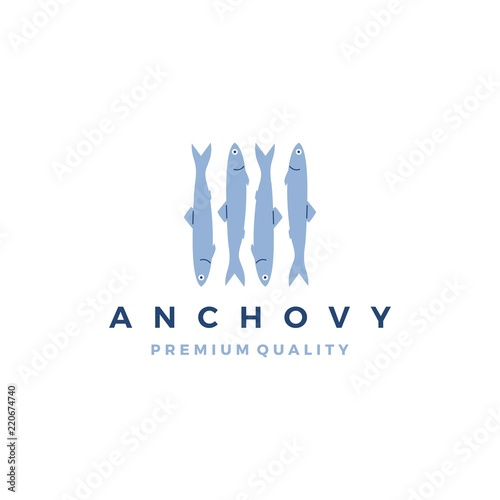 anchovy fish logo vector icon seafood illustration Wallpaper Mural