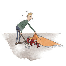 Man Sweeping Error Under The Carpet