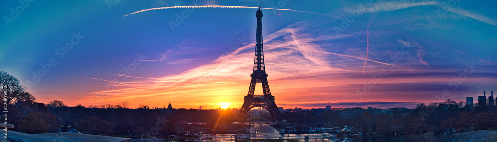 Fototapety, obrazy: Amazing panorama of Paris very early in the morning, with Eiffel Tower included