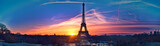 Fototapeta Paryż - Amazing panorama of Paris very early in the morning, with Eiffel Tower included
