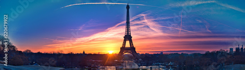 Amazing panorama of Paris very early in the morning, with Eiffel Tower included