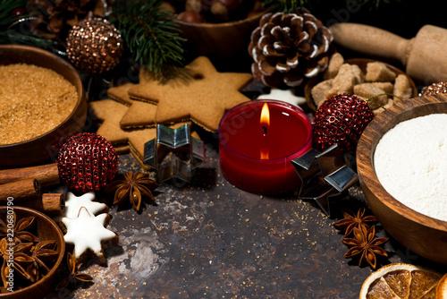 ingredients for baking Christmas cookies