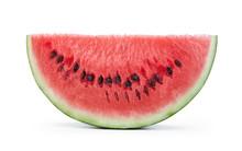 Slice Of Ripe Watermelon Fruit Isolated On White Background