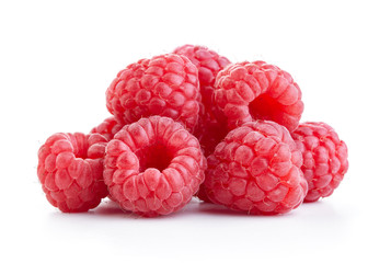 heap of raspberry fruits isolated on white background