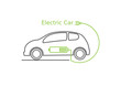 Logo electric car .Side view of electric car