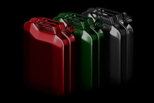 3d Rendering Geometric A Set Of Red, Green And Metal Jerry Cans Isolated On Black Background With Clipping Paths.
