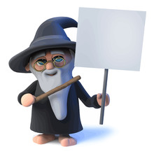 Vector 3d Funny Cartoon Wizard Magician Character Holding A Blank Placard