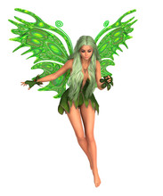 Green Fairy With Green Wings And Long Hair. Isolated On White. 3D Rendering.