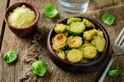 Parmesan Roasted Brussel Sprouts in a bowl