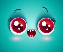 Vector Cute Face Of Monster Fo...