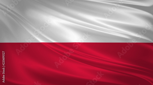 Polska - plakaty   poland-flag-blowing-in-the-wind-background-texture-3d-rendering-wave