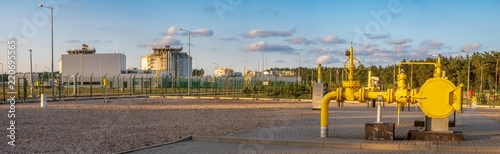 gas valve at the LNG terminal, panorama Wallpaper Mural