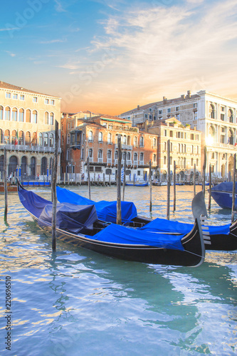 Staande foto Gondolas Beautiful view of the gondolas and the Grand Canal, Venice, Italy