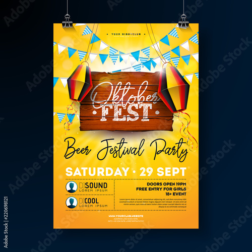 Oktoberfest Party Flyer Design With Typography Lettering On Vintage Wood Board Vector Traditional German Beer Festival Poster Template For Invitation Or