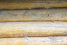 A Log House Wall With Close Up...