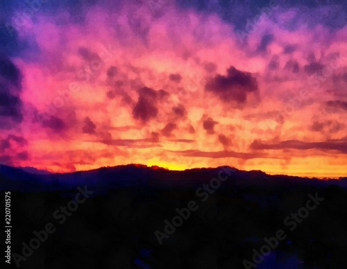 Hand drawing watercolor art on canvas. Artistic big print. Original modern painting. Acrylic dry brush background. Painting for sale. Beautiful mountain landscape. Charming red sunset. Dark sky.