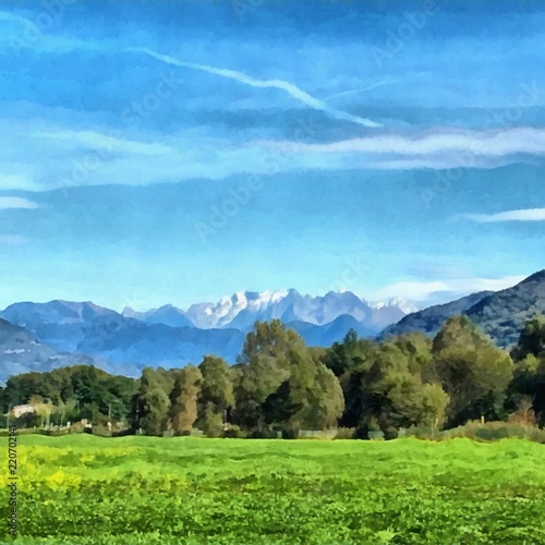 Foto op Canvas Blauw Hand drawing watercolor art on canvas. Artistic big print. Original modern painting. Acrylic dry brush background. Painting for sale. Beautiful autumn mountain landscape. Green field. Blue sky.
