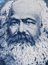 Karl Marx Portrait On East German 100 Mark (1975) Banknote Closeup Macro, Famous Philosopher, Economist, Political Theorist, Sociologist And Revolutionary Socialist..