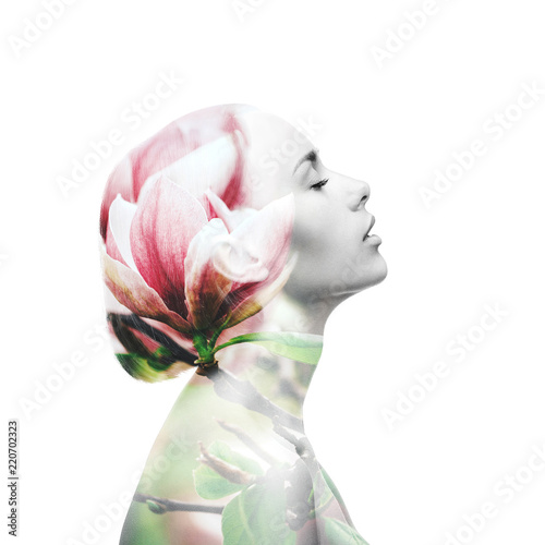Fotografie, Obraz  Multiple exposure. Woman and magnolia