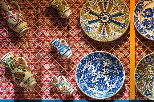 Cuadros en Lienzo Touristic souvenir shop colorful dotted Budapest hand made porcelain plates, Bud