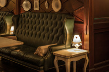 Luxury Leather Sofas And Tables In Restaurant Interior