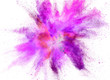 canvas print picture - Colored powder explosion on white background.