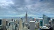 Time Lapse Aerial View of New York City Skyline with Famous Landmark Cloudy Day