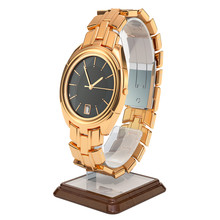 Golden Wrist Watch On The Stand Holder. 3D Rendering