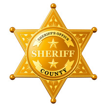 Sheriff Star Badge, 3D Rendering