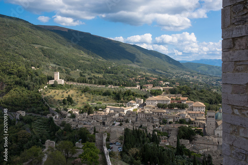 Foto op Canvas Nachtblauw Views of Assisi and the hills around Assisi from Rocca Maggiore