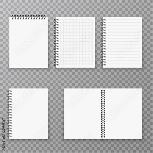 Fotografía Blank open and closed realistic notebook collection, organizer and diary vector template isolated
