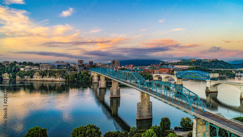Fototapety, obrazy: Drone Aerial View of Downtown Chattanooga Tennessee and Tennessee River