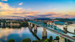 Drone Aerial View of Downtown Chattanooga Tennessee and Tennessee River