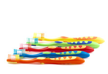 Colorful Toothbrush For Children On A White Background