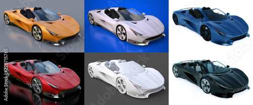 Fotografia  Set conceptual sports cabriolet for driving around the city and racing track