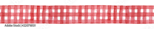 Türaufkleber Künstlich Red and white checkered gingham ribbon, decorative seamless template. Cute country style traditional element for design, craft, home decor. Hand drawn watercolour graphic illustration, cutout clipart.