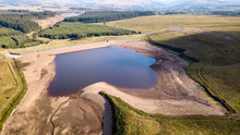 Aerial Drone View Of Low Water Levels In A Reservoir In Wales (Ebbw Vale)