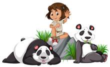 A Panda Keeper On White Backgr...