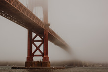 Golden Gate Bridge In The Fog Viewed From Hoppers Hands At Fort Point