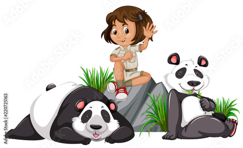 Foto A panda keeper on white background