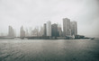 canvas print picture - Skyline of Manhattan in a heavy fog