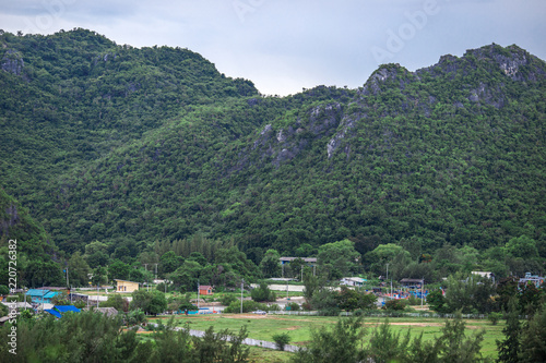 Background , mountain surrounded by many trees, beautiful nature, a wildlife habitat. And a good ecosystem.